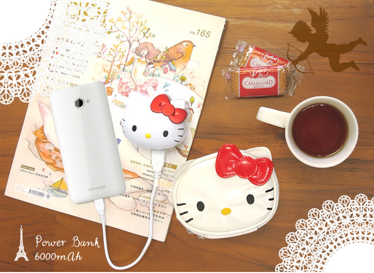 電子3C館_Hello Kitty-行動電源-KT頭型紅結