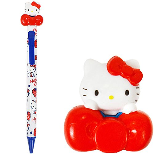 筆用品_Hello Kitty-造型自動鉛筆-KT立偶抱紅結