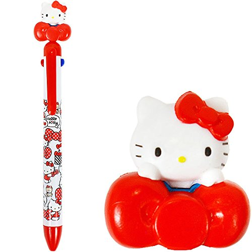 筆用品_Hello Kitty-造型4C原子筆-KT立偶