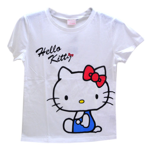 Hello Kitty_Hello Kitty-綿T-藍衣坐姿M