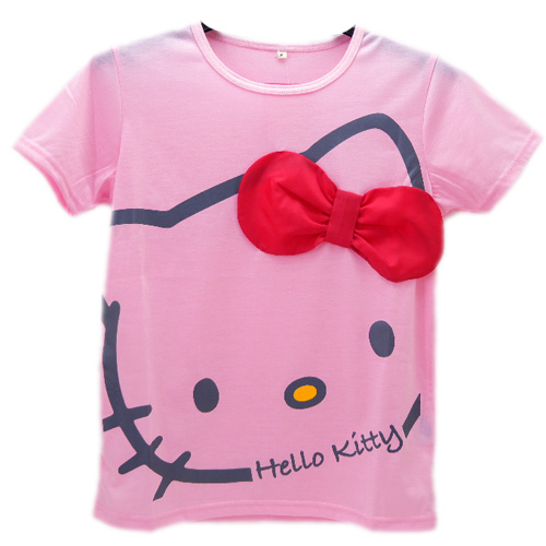 Hello Kitty_Hello Kitty-大臉蝴蝶結棉T-粉