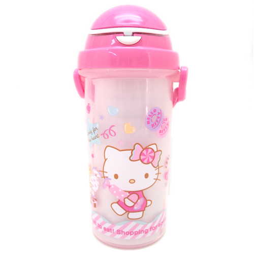 水壼_Hello Kitty-吸管水壺550ML-糖果粉