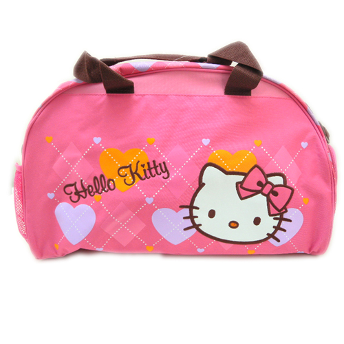 手提包袋_Hello Kitty-旅行兩用手提袋-菱格愛心