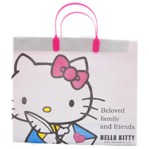 手提包袋_Hello Kitty-不織布提袋-白底書信