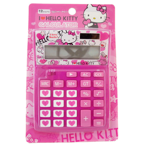 辦公文具_Hello Kitty-計算機-多愛心桃紅