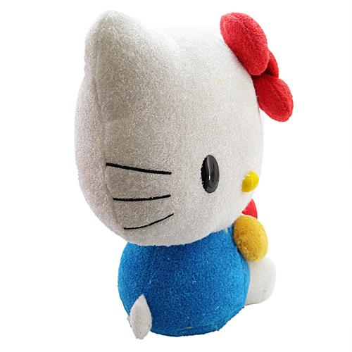 凯蒂猫hello kitty_hello kitty-侧坐抱苹果毛巾布娃-红结