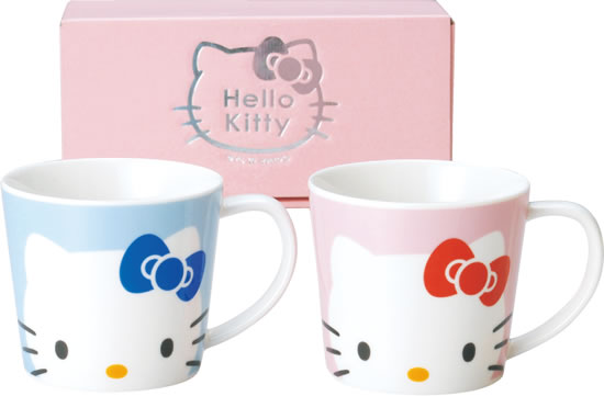 茶具杯子_Hello Kitty-馬克杯2入-粉藍