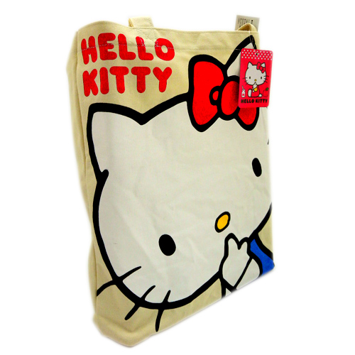 手提包袋_Hello Kitty- 帆布綿提袋-吸指紅結米