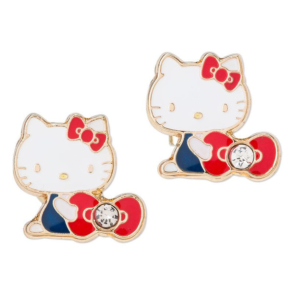 流行生活精品_Hello Kitty- 耳針式耳環-KT抱紅結