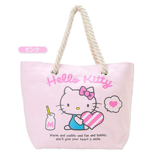 包包_Hello Kitty-麻繩帆布提包-抱愛心粉